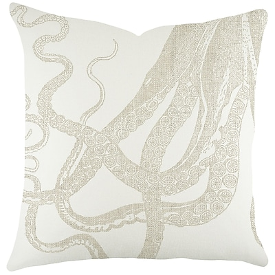 TheWatsonShop Octopus Cotton Throw Pillow; Natural
