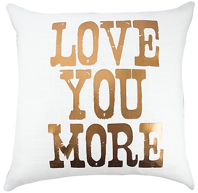 TheWatsonShop Love You More Cotton Throw Pillow; Copper