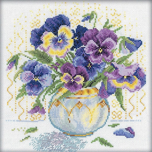 "RTO M053 Multicolor 9"" x 9"" Pansies Counted Cross Stitch Kit"