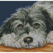 """RTO M413 Multicolor 11.5"""" x 11.5"""" Dog Melancholy Counted Cross Stitch Kit"""