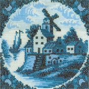 """RTO EH312 Blue 4.25"""" x 4.25"""" Counted Cross Stitch Kit, Antique Dutch Tiles Windmill I"""