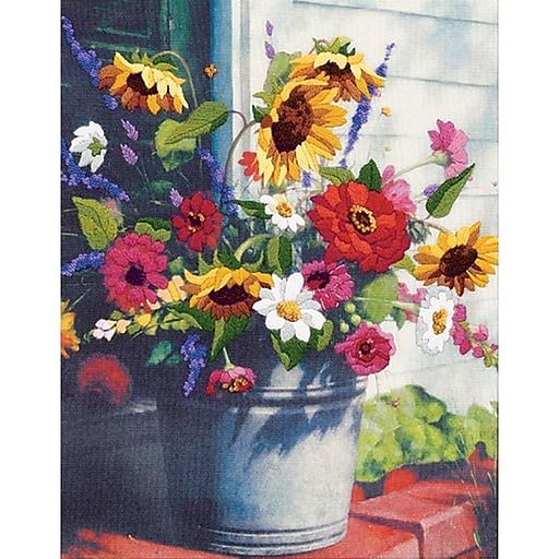 "Dimensions 1534 Multicolor 14"" x 11"" Bucket of Flowers Gallery Crewel Kit"