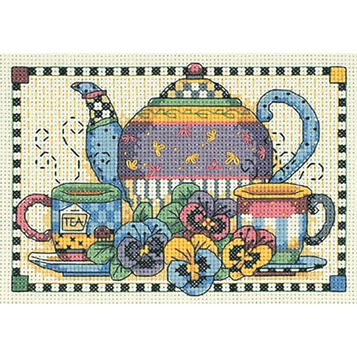 """Dimensions 6877 Multicolor 5"""" x 7"""" Teatime Pansies Mini Counted Cross Stitch Kit"""