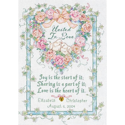 """Dimensions 35125 Multicolor 14"""" x 10"""" United In Love Wedding Record Counted Cross Stitch Kit"""