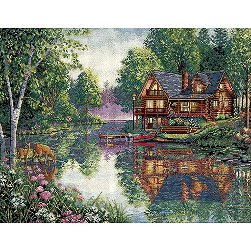 "Dimensions 35183 Multicolor 12"" x 16"" Gold Collection Cabin Fever Counted Cross Stitch Kit"