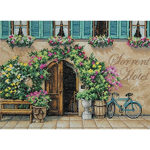 """Dimensions 70-35270 Multicolor 10"""" x 14"""" Sorrento Hotel Counted Cross Stitch Kit"""