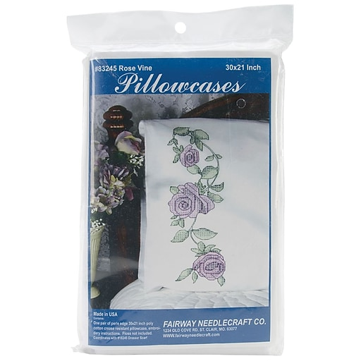 "Fairway 83245 White 30"" x 20"" Rose Vine Stamped Perle Edge Pillowcases, 2/Pack"