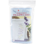 Jack Dempsey 1600 347 XX Butterflies Stamped Pillowcases with White Perle Edge, 2/Pack
