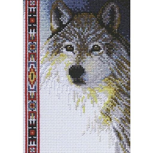 "Janlynn 13-0267 Multicolor 7"" x 5"" Counted Cross Stitch Kit, Wildlife Wolf Mini"