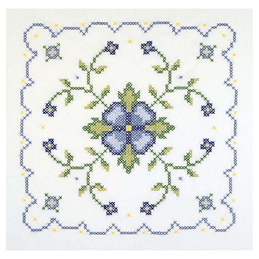 """Janlynn 21-1333 Multicolor 18""""x18"""" Be & Yw Geometric Stamped Cross Stitch Quilt Blocks, 6/Pack"""