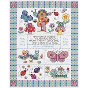 """Janlynn 21-1417 Multicolor 12.75"""" x 9.75"""" Bug In A Rug Sampler Counted Cross Stitch Kit"""