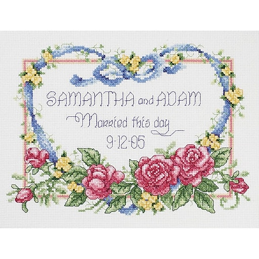"""Janlynn 56-0193 Multicolor 8"""" x 10"""" Married This Day Counted Cross Stitch Kit"""