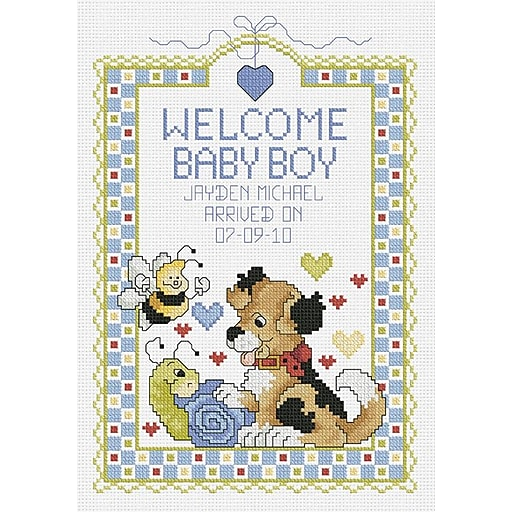 """Janlynn 80-0469 Multicolor 10"""" x 7"""" Welcome Baby Boy Sampler Counted Cross Stitch Kit"""