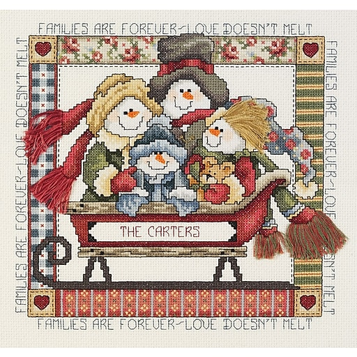 "Janlynn 80-0473 Multicolor 8.5"" x 9"" Families Are Forever Counted Cross Stitch Kit"