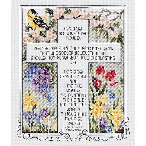 "Janlynn 80-0476 Multicolor 12.25"" x 10.25"" John 3:16-17 Counted Cross Stitch Kit"