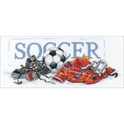 """Janlynn 87-0057 Multicolor 7"""" x 16"""" Soccer Counted Cross Stitch Kit"""