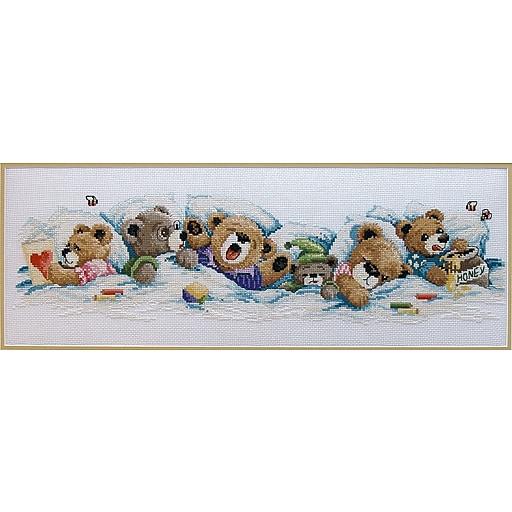 "Janlynn 195-0601 Multicolor 7"" x 19"" Sleepy Bears Counted Cross Stitch Kit"