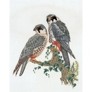 "Thea Gouverneur TG2024 White 23.63"" x 18.88"" Falcons On Linen Counted Cross Stitch Kit"