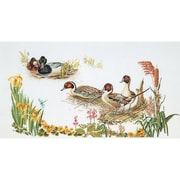 "Thea Gouverneur TG2064 White 25.5"" x 13.5"" Ducks On Linen Counted Cross Stitch Kit"