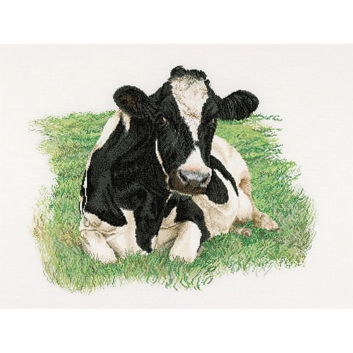 """Thea Gouverneur TG451A Multicolor 23.63"""" x 17.75"""" Cow On Aida Counted Cross Stitch Kit"""