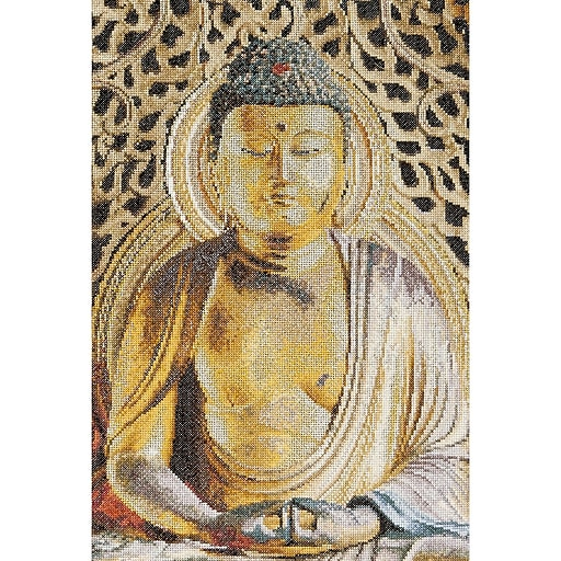"""Thea Gouverneur TG532A Multicolor 13"""" x 8.75"""" Buddha On Aida Counted Cross Stitch Kit"""