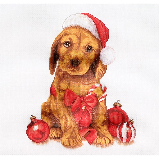 """Thea Gouverneur TG730A Multicolor 12.25"""" x 11.75"""" Counted Cross Stitch Kit, Christmas Puppy On Aida"""