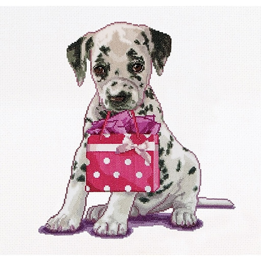 """Multicolor 12.25""""x11.75"""" Counted Cross Stitch Kit, Puppy Went Shopping On Aida"""
