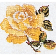 """Thea Gouverneur 5.13"""" x 5.13"""" Rose On Aida Counted Cross Stitch Kit"""