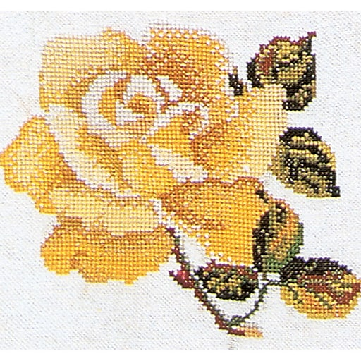 """Thea Gouverneur TG815A 5.13"""" x 5.13"""" Rose On Aida Counted Cross Stitch Kit, Yellow"""