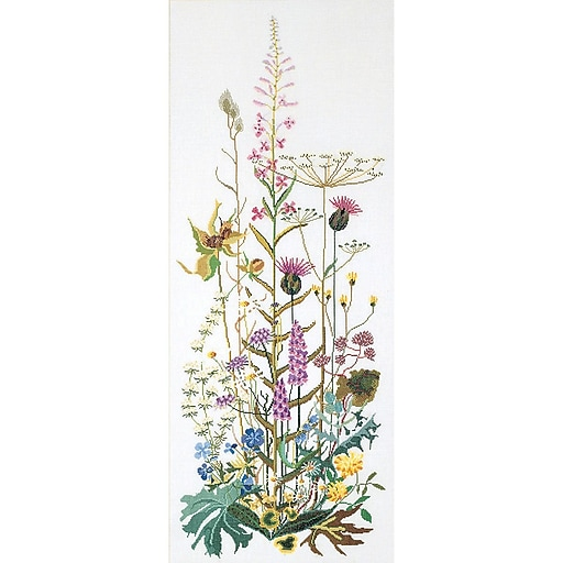 """Thea Gouverneur TG821A Multicolor 43.25"""" x 17.75"""" Wild Flowers On Aida Counted Cross Stitch Kit"""