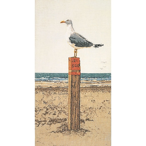 """Thea Gouverneur TG1062A White 25.5"""" x 13"""" Seagull On Aida Counted Cross Stitch Kit"""