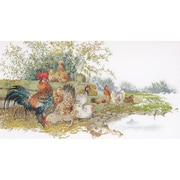 "Thea Gouverneur TG2038A Multicolor 26.75"" x 14.5"" Chickens On Aida Counted Cross Stitch Kit"