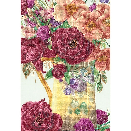 """Thea Gouverneur TG3019A Multicolor 13.5"""" x 9.5"""" Rose Bouquet On Aida Counted Cross Stitch Kit"""