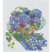 "Thea Gouverneur TG3025A Multicolor 16.5"" x 14.5"" Hydrangea-Anemone On Aida Counted Cross Stitch Kit"