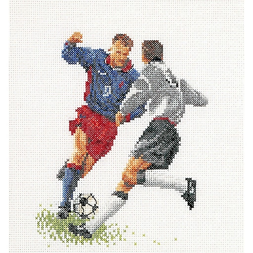 "Thea Gouverneur TG3030A Multicolor 6.75"" x 6.25"" Counted Cross Stitch Kit, Football (Soccer)"