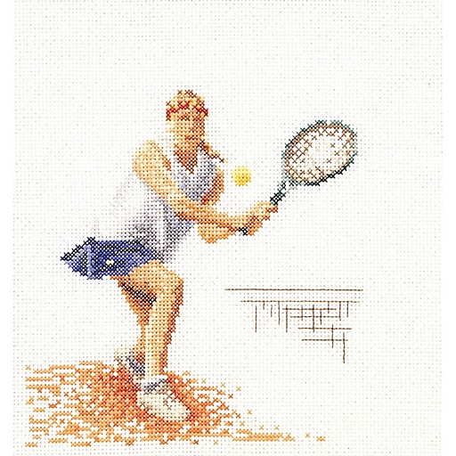"""Thea Gouverneur TG3031A Multicolor 6.75"""" x 6.25"""" Counted Cross Stitch Kit, Tennis"""