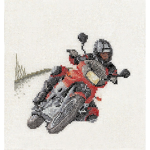 """Thea Gouverneur TG3054A Multicolor 6.75"""" x 6.25"""" Counted Cross Stitch Kit, Motorcyclist"""