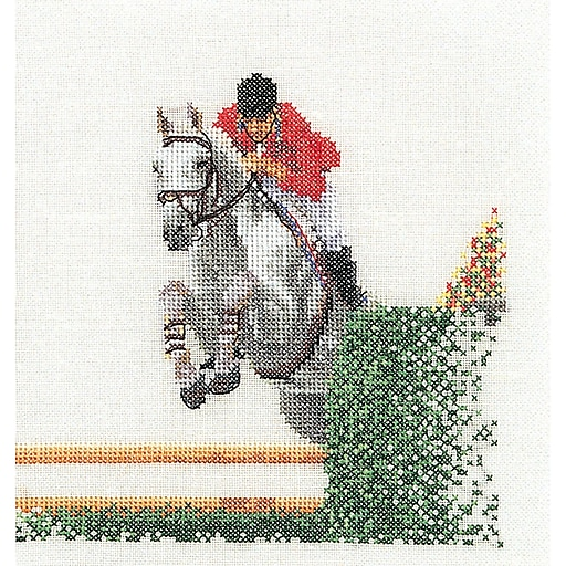 "Thea Gouverneur TG3090A Multicolor 6.75"" x 6.25"" Counted Cross Stitch Kit, Showjumper On Aida"
