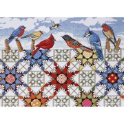 """Tobin DW2719 Multicolor 12"""" x 16"""" Feathered Stars Counted Cross Stitch Kit 14 Count"""