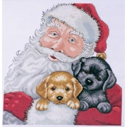 """Tobin DW5978 Multicolor 13"""" x 13"""" Santa with Puppies Counted Cross Stitch Kit"""