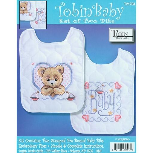 "Tobin T21704 Multicolor 10"" x 8"" Bedtime Prayer Boy Bib Stamped Cross Stitch Kit, 2/Set"