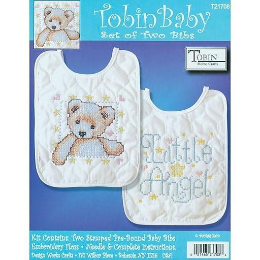 """Tobin T21708 Multicolor 10"""" x 8"""" Angel Bib Stamped Cross Stitch Kit, 2/Set"""