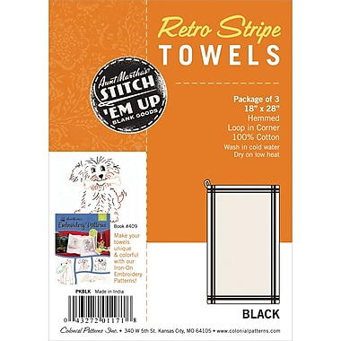 Aunt Martha's PKBLK White with Black Stripe Towel, 3/Pack