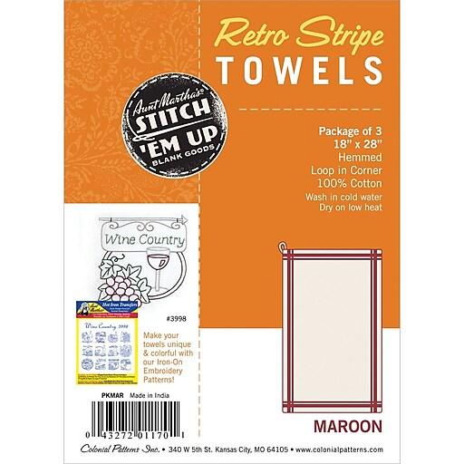 Aunt Martha's PKMAR White with Maroon Stripe Towel, 3/Pack