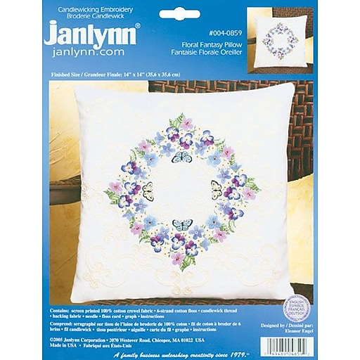 """Janlynn 4-0859 White 14"""" x 14"""" Floral Fantasy Candlewicking Embroidery Kit"""