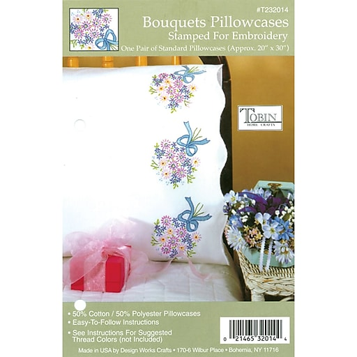 "Tobin 232014 White 30"" x 20"" Bouquets Stamped Embroidery Pillowcase, 2/Set"
