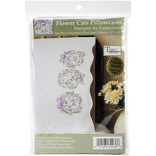 """Tobin 232036 White 30"""" x 20"""" Flower Cats Stamped Embroidery Pillowcase, 2/Set"""