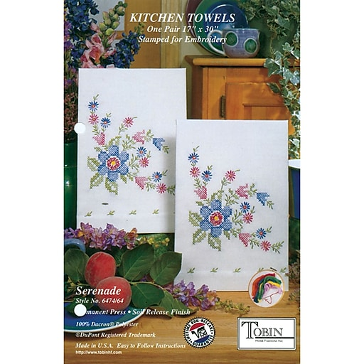 "Tobin 2640 64 White 30"" x 17"" Serenade Stamped Kitchen Towels For Embroidery, 2/Pack"