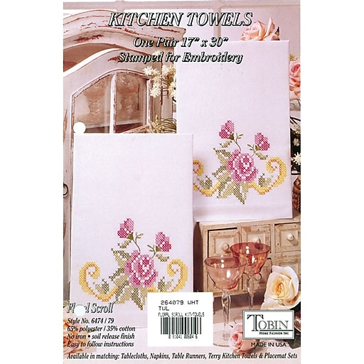 "Tobin 2640 79 White 30"" x 17"" Floral Scroll Stamped Kitchen Towels For Embroidery, 2/Pack"