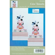 """Tobin T212928 White 20"""" x 28"""" Cow Stamped Kitchen Towels For Embroidery, 2/Pack"""
